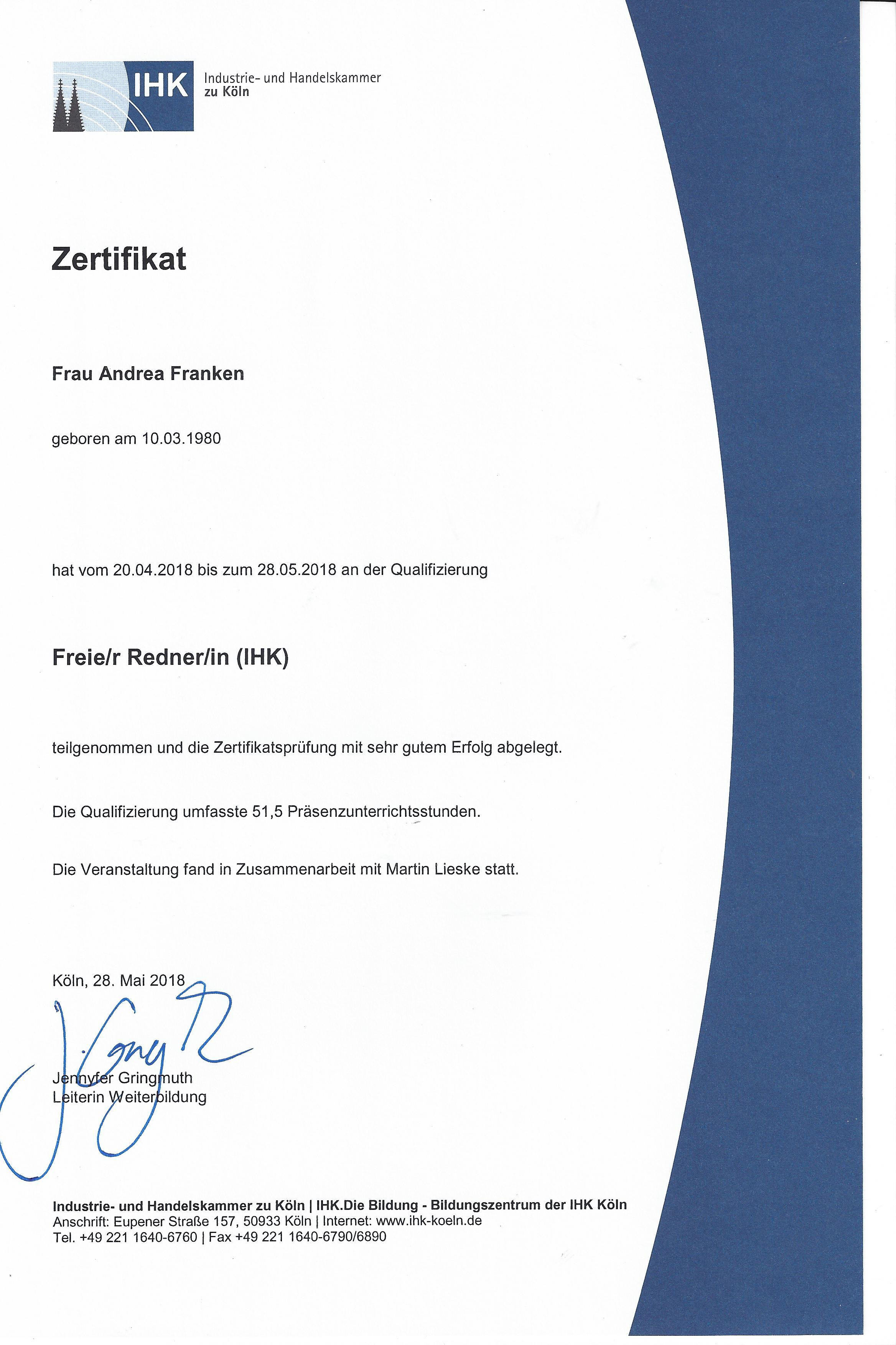 Zertifikat Freie Rednerin
